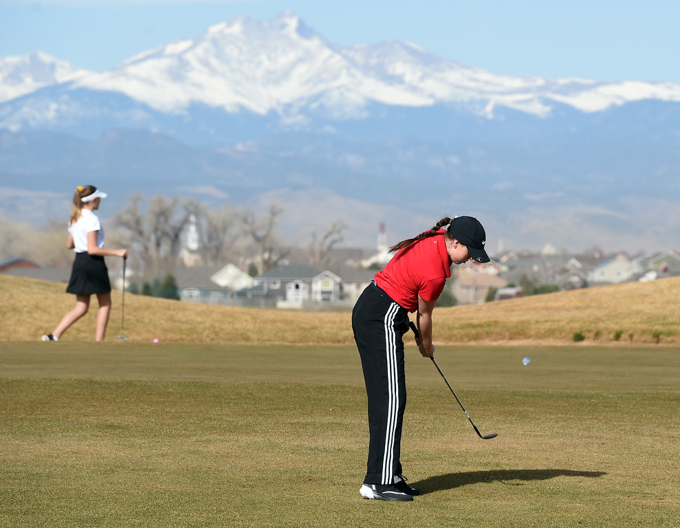 . Sophie Nelson, of Fairview High, chips on to the green during the Skyline Invitational Girls Golf Tournament in Firestone on Wednesday.  For more photos, go to www.BoCoPreps.com. Cliff Grassmick  Staff Photographer March 15, 2017
