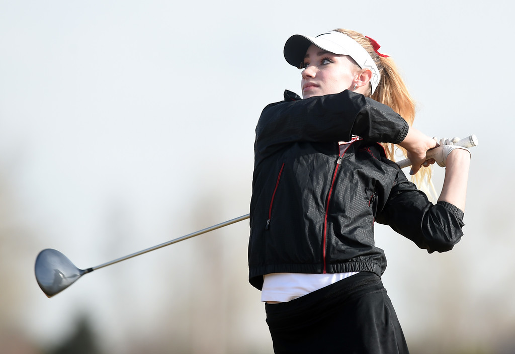 . Grace Gunlikson, of Skyline High, tees off during the Skyline Invitational Girls Golf Tournament in Firestone on Wednesday.  For more photos, go to www.BoCoPreps.com. Cliff Grassmick  Staff Photographer March 15, 2017