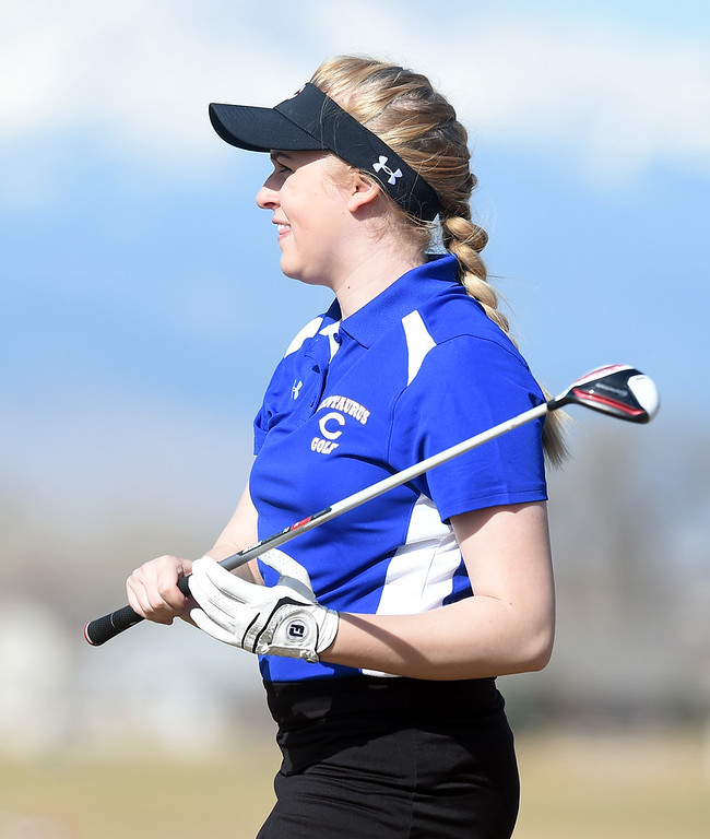 . Brie Nickal, of Centaurus High, watches her shot during the Skyline Invitational Girls Golf Tournament in Firestone on Wednesday.  For more photos, go to www.BoCoPreps.com. Cliff Grassmick  Staff Photographer March 15, 2017