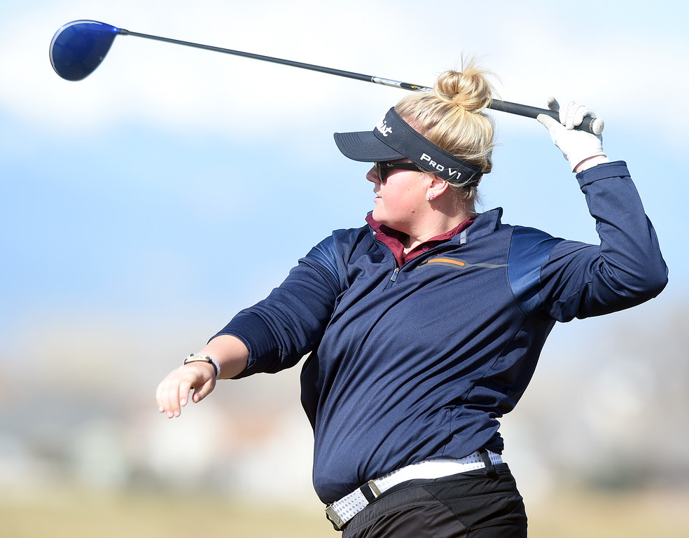 . Molli Boruff, of Berthoud High, watches her tee shot during the Skyline Invitational Girls Golf Tournament in Firestone on Wednesday.  For more photos, go to www.BoCoPreps.com. Cliff Grassmick  Staff Photographer March 15, 2017