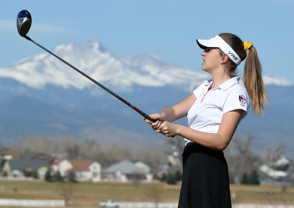 . Lexi Ekern, of Skyline High, watches her tee shot during the Skyline Invitational Girls Golf Tournament in Firestone on Wednesday.  For more photos, go to www.BoCoPreps.com. Cliff Grassmick  Staff Photographer March 15, 2017