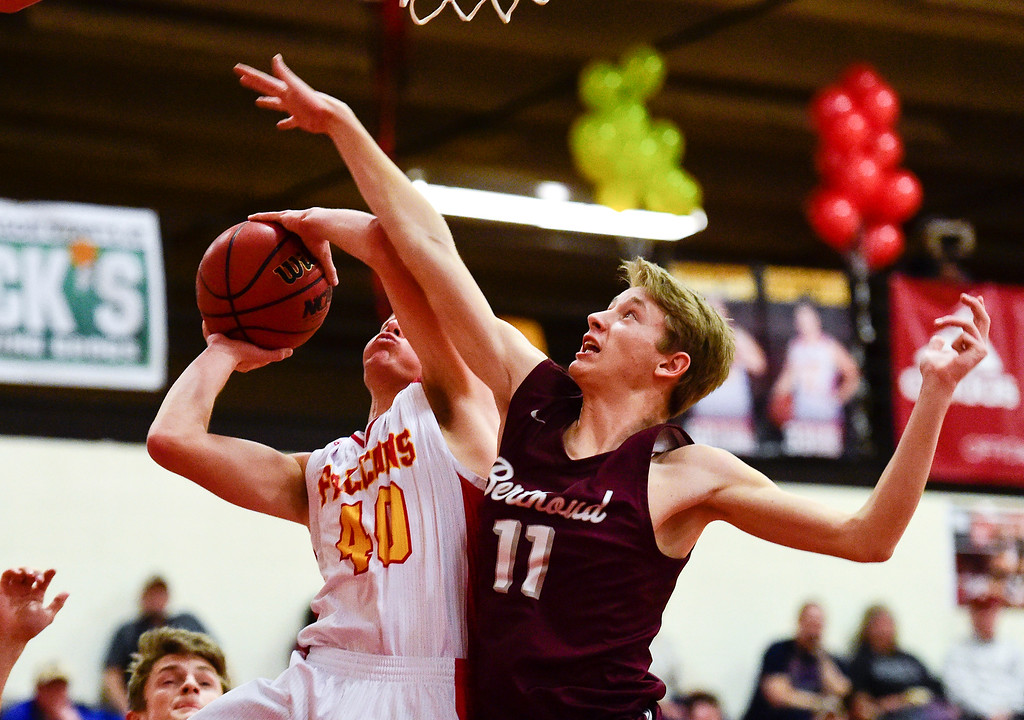 . LONGMONT, CO - FEBRUARY 15:Skyline High School\'s (No. 40) collides with Berthoud High School\'s Brent Hoogland (No. 11) in Longmont on Feb. 15, 2019. (Photo by Matthew Jonas/Staff Photographer)