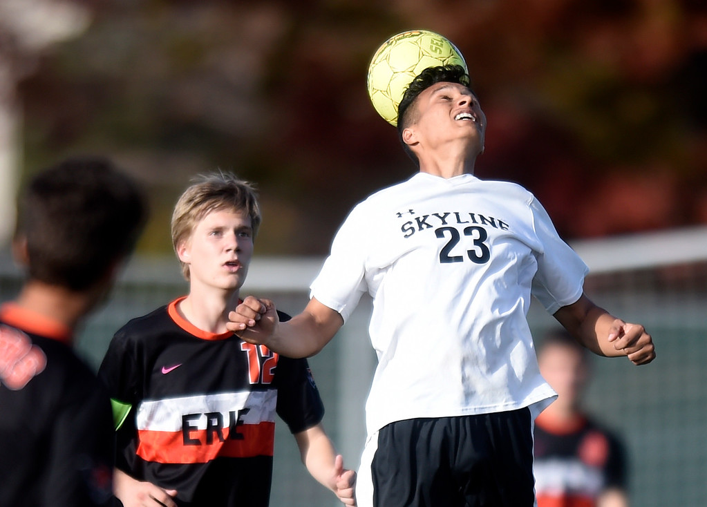 . Skyline High School\'s Alejandro Toledo heads the ball during a game against Erie on Monday in Longmont. For more photos go to BoCoPreps.com Jeremy Papasso/ Staff Photographer/ Oct. 16, 2017