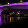 Minneapolis Skyline with 35W Bridge Lit Purple in Honor of Prince