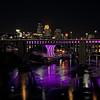 Minneapolis Skyline with 35W Bridge Lit Purple in Honor of Prince