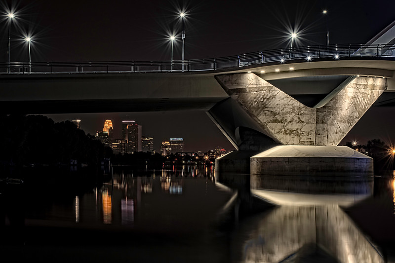 Minneapolis Skyline and Lowry Avenue Bridge - Blue