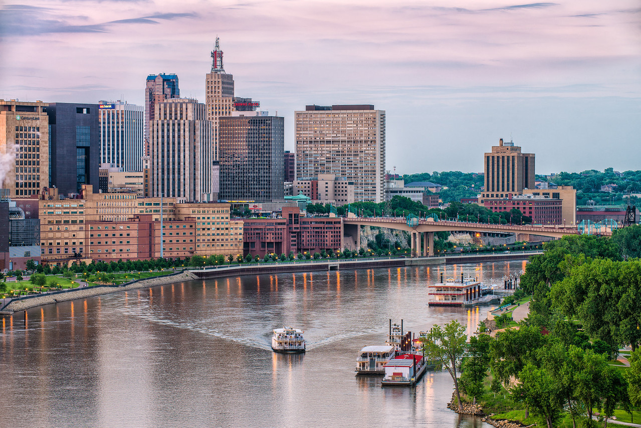 A busy night for river boats on the mighty Mississipi in St Paul Mn.