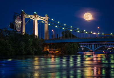 Strawberry Moon over Hennepin Ave Bridge, Mpls. June 2015