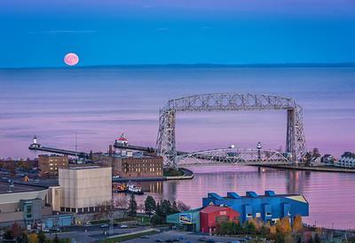 Hunters Full Moon- Duluth Harbor.