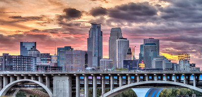 Minneapolis Sunset Skyline as viewed from the U of M.