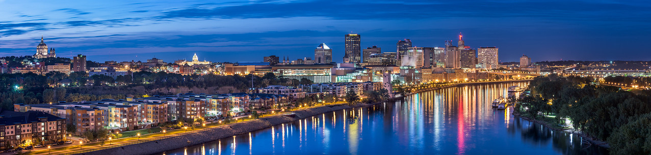 A panoramic view of downtown St. Paul MN from the Smith Av High Bridge.