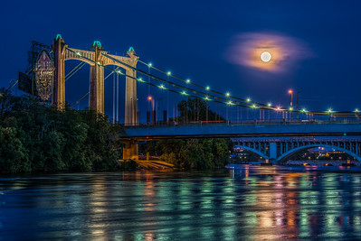 Strawberry Moon 2015 over the Mississippi, Mpls.