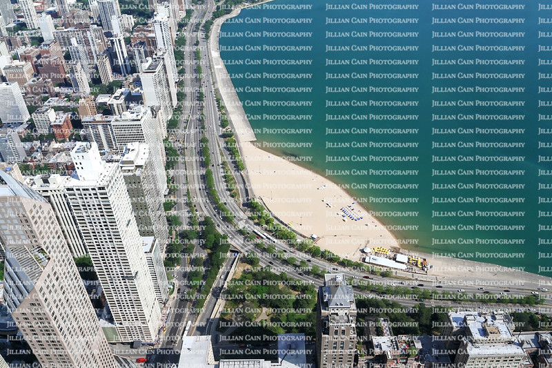 Aerial view of Chicago high rises and lake front beaches