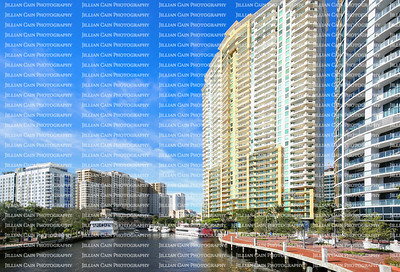 Fort Lauderdale's Riverfront, bustling with boating activity and lined with highrise condos and apartments located at Las Olas Boulevard in downtown Fort Lauderdale, Florida.