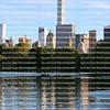 New York City skyscrapers reflected in the Central Park Lake