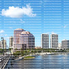The skyline water view from the Royal Park Bridge in West Palm Beach, Florida, USA