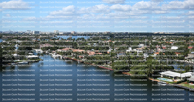 Dramatic aerial view of Fort Lauderdale's skyline and waterway canals