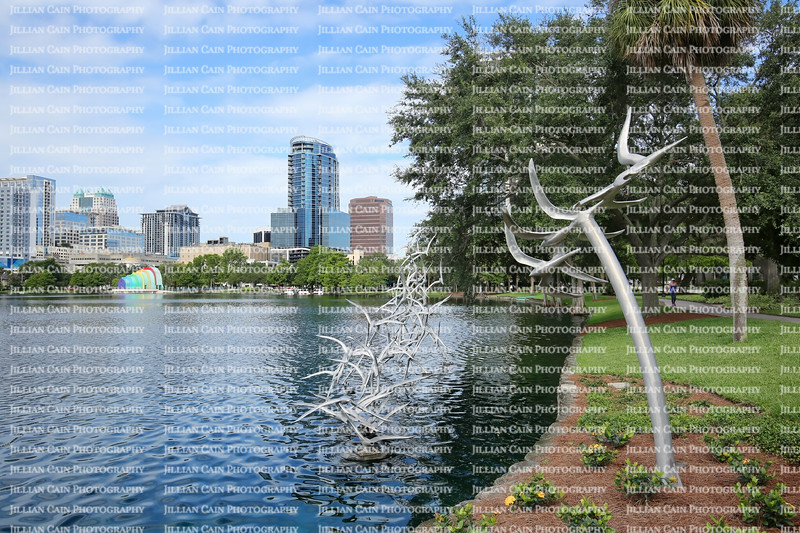 "Outdoor sculpture, titled ""Take Flight Orlando"" creation of American artist Douwe Blumberg on display at Lake Eola, a public park in downtown Orlando."