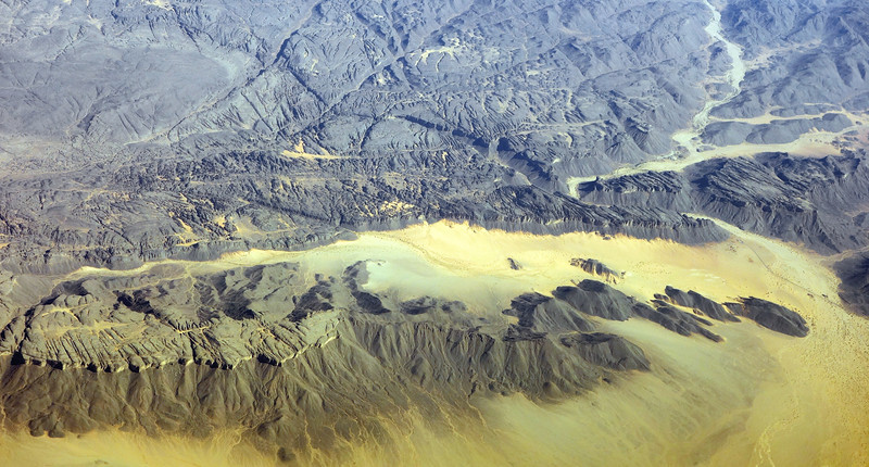 Deeply eroded, fractured rock massif in the Sahara, Algeria