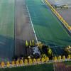 Autumn sunrise over farms in polder near Rijsenhout, The Netherlands