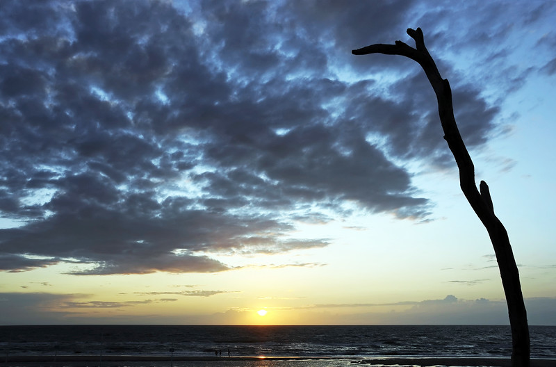 Summer sunset along the North Sea coast at Noordwijk, The Netherlands