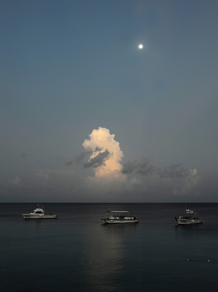 Thundercloud rising under full moon, Bonaire