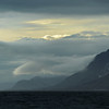 Storm clouds against the Lexfjellet (997 m) on the southwest coast of Oscar II Land, Svalbard