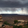 Heavy downpour under thunderstorm over Canyonlands National Park in Utah, USA