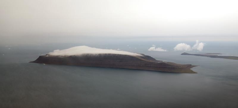 Strong winds over desolate Kigataq island, northwest Greenland