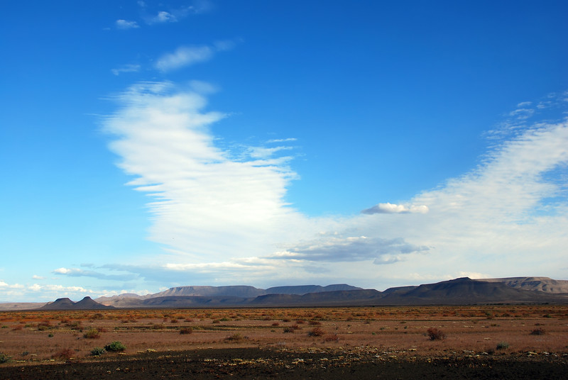 Cloud patterns over rock massif in the Karoo, South Africa