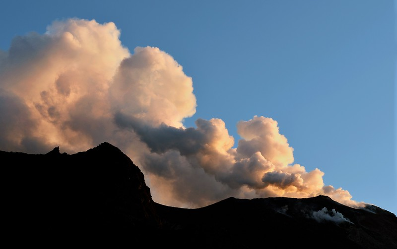 Steam and fine ash clouds rising from the summit of the Stromboli volcano, Italy