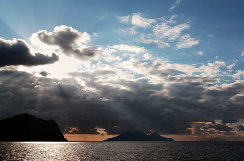 Weather front passing over the islands of Lipari, Salina and Filicudi in the Eolian archipelago, Italy