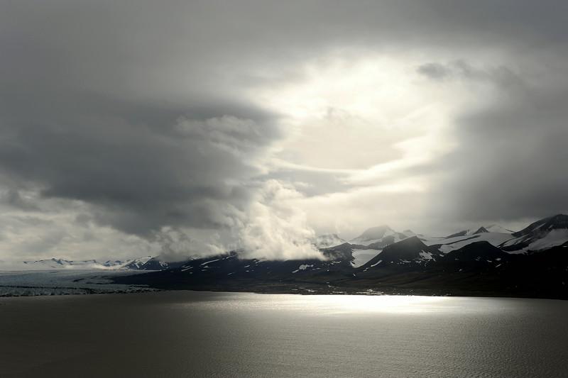 Friherrefjella massif and adjacent Zawadzki glacier in the inner Van Keulenfjorden, Svalbard