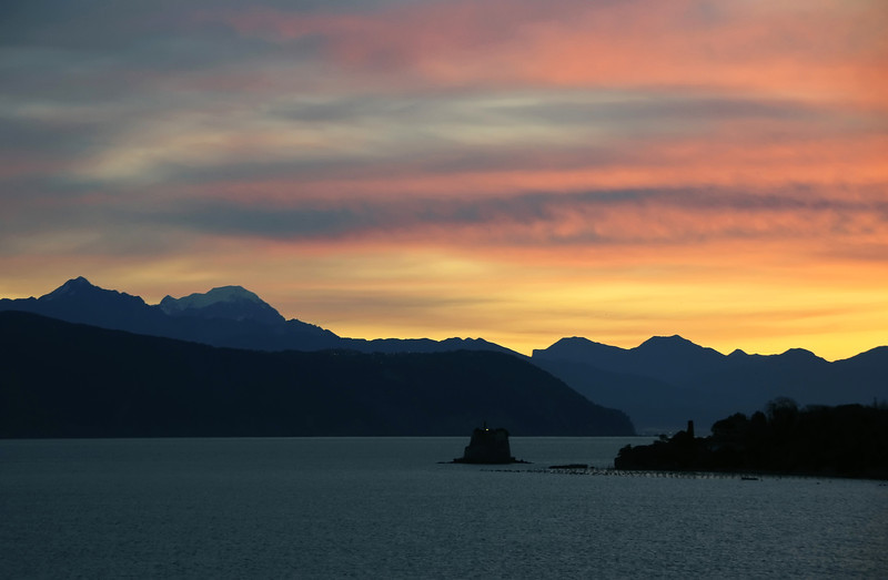 Winter sunrise over the Apennine Mountains as viewed from Portovenere, Italy