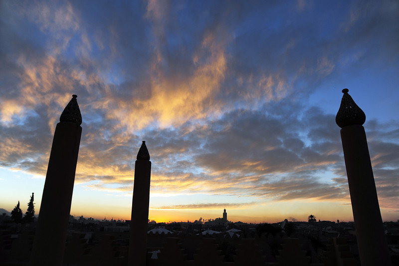 Rooftop view of dusk over Marrakesh, Morocco