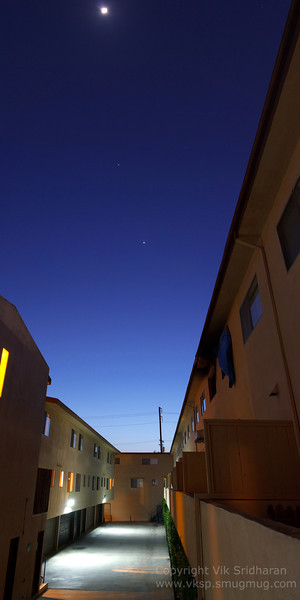 Venus, Jupiter, and the Moon above my apartment building.