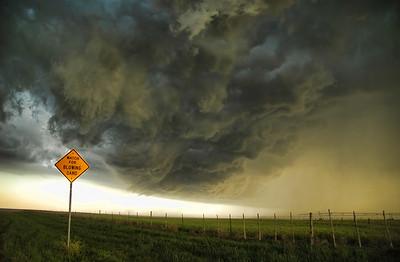 Gust front on severe storm kicking up dust in the field in Nebraska June 2007.
