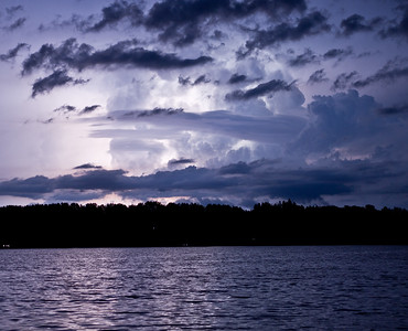 Nicely lit up thunderstorm over a northern MN lake July 2014