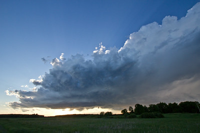 A supercell storm slowly fading in the evening light over central MN