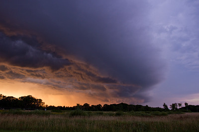 A shelf cloud, catching some nice sunset light over Sherburne