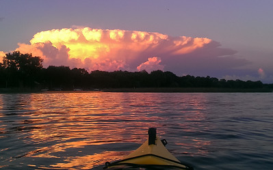 Enjoying a nicely lit thunderstorm while kayaking on Forest lake