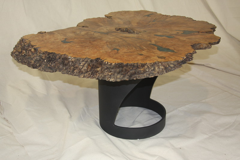 Inlayed Maple Burl wedge table on custom metal base