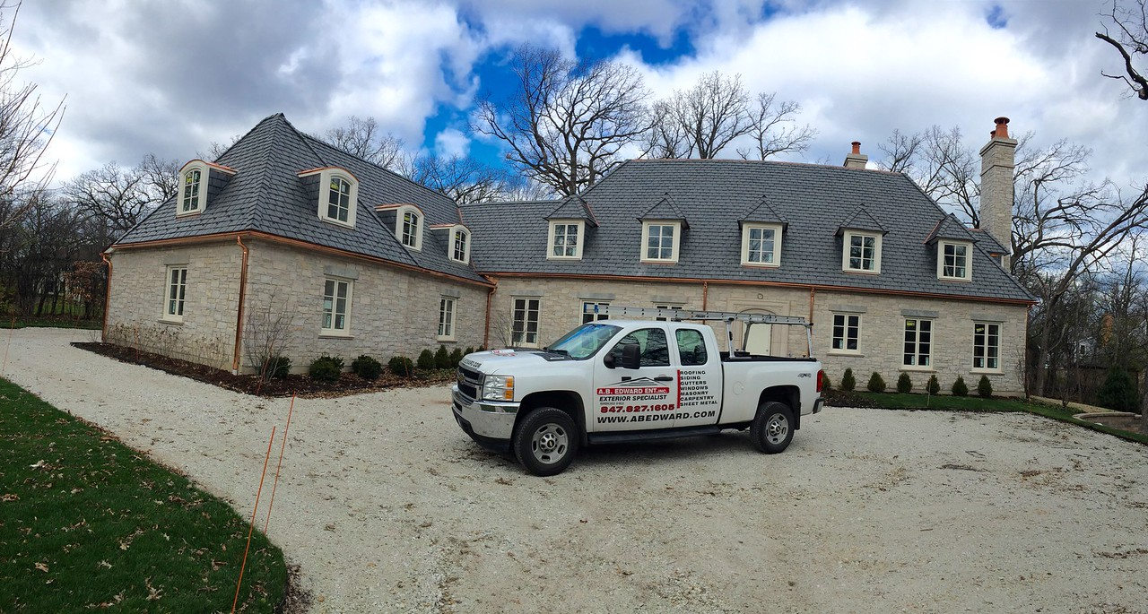 Slate Roof, Copper Gutters and Masonry - Lake Forest IL