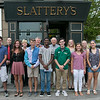 The Research Results/Slattery's Turkey Trot Scholarships of $750 were given out to local high school students on their way to college Tuesday, August 27, 2019 at Slattery's. Pictured in front row are students Joseph Flynn from Oakmont Regional High School, Delaney Collins also from ORHS, Hunter Jordan from Leominster High School, Evans Oduro from Fitchburg High School, Conor Dandy from Montachusett Regional Vocational Technical School, Emerson Scott from Fitchburg High School, Sofia Gaibor from North Middlesex Regional High High School and Courtney Brouillet from Montachusett Regional Vocational Technical School. In the back is the sponsors. From left is Michael King from Webster First Federal Credit Union, Beth Slattery IC Federal Credit Union, Mark Ambrose the race director, Owner of Slattery's Dave Celuzza, Lesle Voyer and Jennifer Smith both from Workers Credit Union. SENTINEL & ENTERPRISE/JOHN LOVE