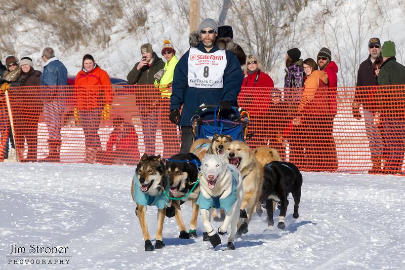 David Perron's 10-dog team near the start of the 2013 WolfTrack Classic