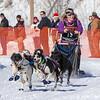 Eva Kolodji's 6-dog team near the start of the 2013 WolfTrack Classic