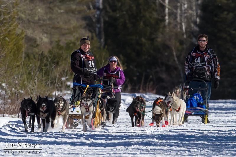 Heather Jeske Pharr, Dusty Klaven and Josh Hudachek along the trail near Bear Head Lake State Park