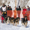 Matt Groth's 10-dog team near the start of the 2013 WolfTrack Classic