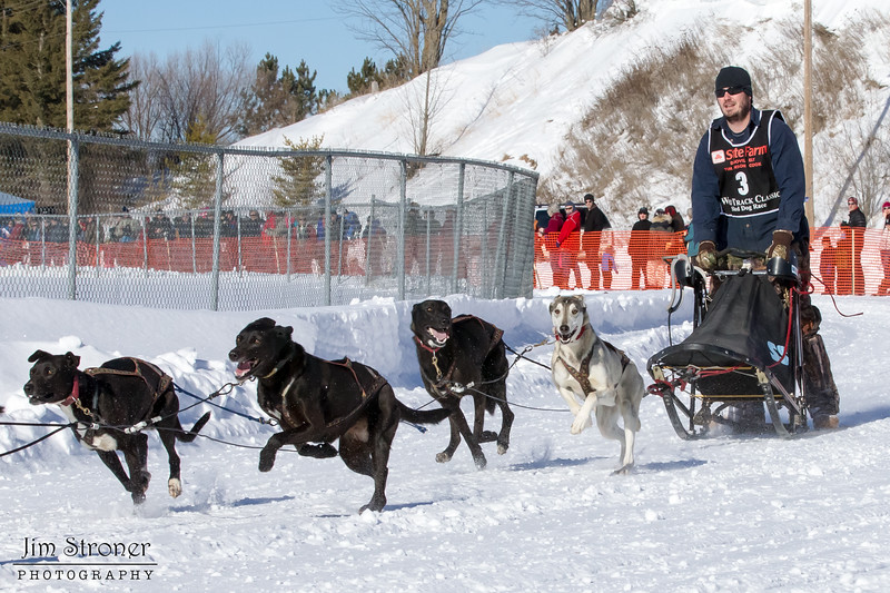 Wes Alkins's 6-dog team near the start of the 2013 WolfTrack Classic
