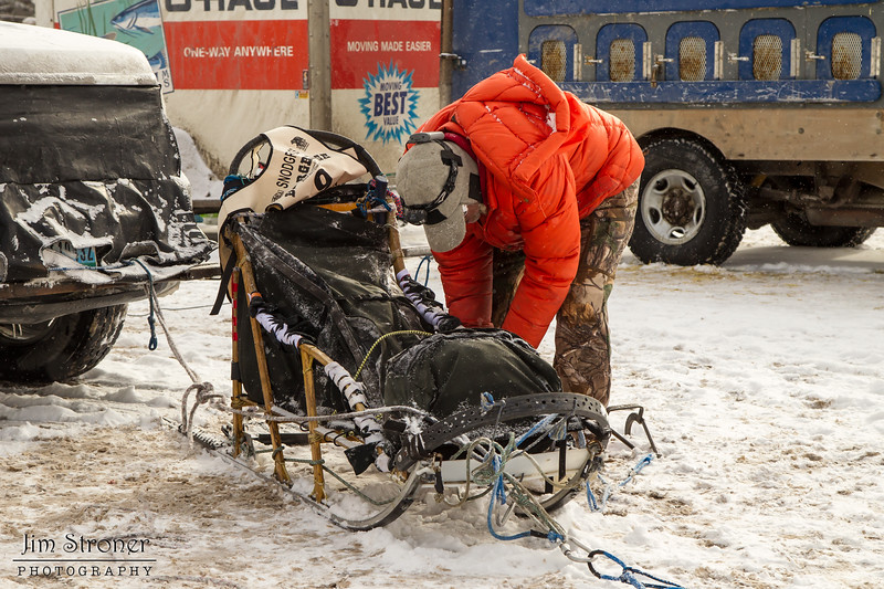 Billy Snodgrass preping his sled for the 2014 Beargrease Marathon